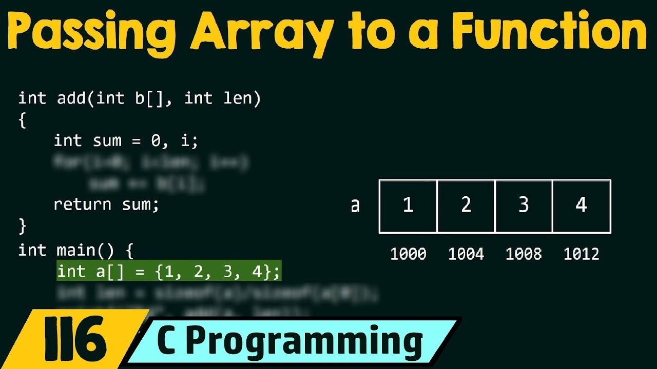 Passing Arrays to Function in C