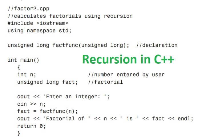 Recursion in C++